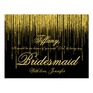 Will You Be My Bridesmaid? Golden Confetti Glitter Postcard