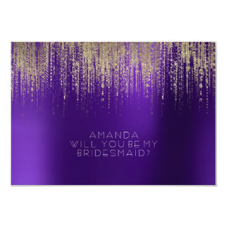 Will You Be My Bridesmaid Golden Rain Purple Plum Card