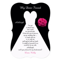 Will You Be My Bridesmaid Gown on Black with Roses 5x7 Paper Invitation Card