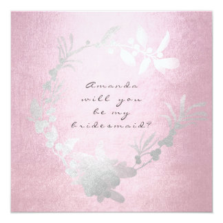 Will You Be My Bridesmaid Gray Pink Rose Wreath Card
