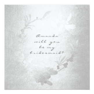 Will You Be My Bridesmaid Gray Silver Wreath Card