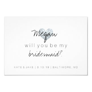 Will You Be My Bridesmaid - Heart's Fab Silver Card