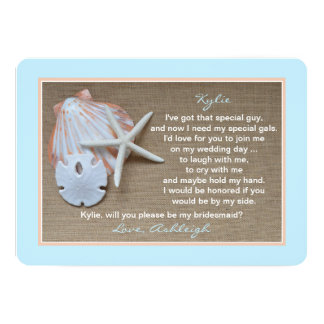 Will You Be My Bridesmaid Invitations Beach