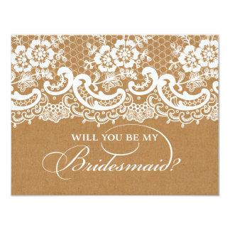 Will You Be My Bridesmaid Lace Brown 11 Cm X 14 Cm Invitation Card