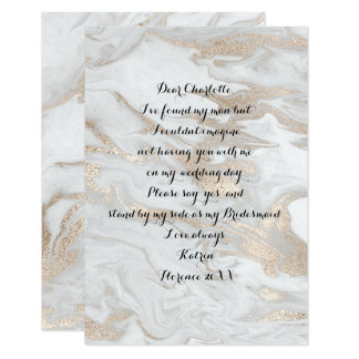 Will You Be My Bridesmaid Marble White Pearl Ivory Card