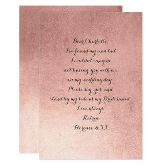 Will You Be My Bridesmaid?Minimal Pink Rose Powder Card