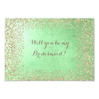 Will You Be My Bridesmaid Mint Gold Champaign Card
