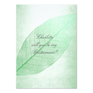 Will You Be My Bridesmaid? Mint Green Pastel 11 Cm X 16 Cm Invitation Card
