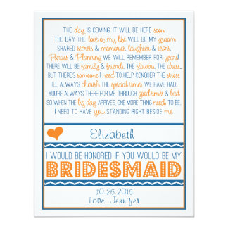 Will you be my Bridesmaid? Navy Blue/Orange Poem 11 Cm X 14 Cm Invitation Card