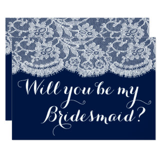 Will You Be My Bridesmaid? Navy Blue & White Lace Card