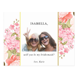 Will You Be My Bridesmaid | Peonies & Hydrangeas Postcard