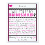 Will you be my Bridesmaid? Pink/Black Collage Card Invite at Zazzle