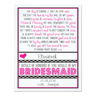 Will you be my Bridesmaid? Pink/Black Poem Card Personalized Invitation