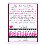 Will you be my Bridesmaid? Pink/Black Poem Card V2 Custom Invites