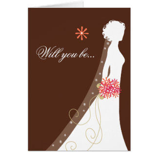 Will You Be My Bridesmaid? Pink Brown Card