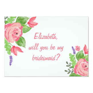 """Will you be my bridesmaid"" Pink Floral Invitation"