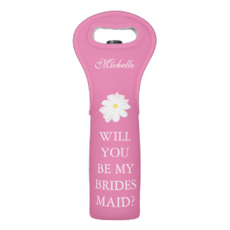 Will you be my bridesmaid pink flower wine bag