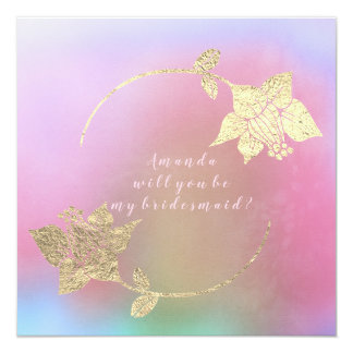 Will You Be My Bridesmaid Pink Fuchsia Ombre Gold Card
