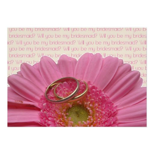 will you be my bridesmaid pink gerbera on letter personalized invites