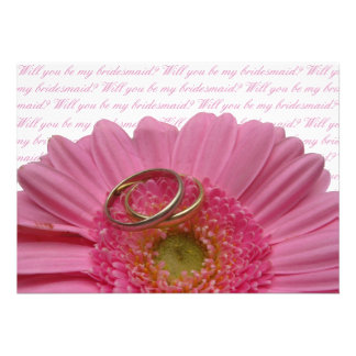 will you be my bridesmaid pink gerbera on white le invite