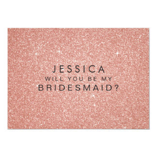 Will You Be My Bridesmaid Pink Gold Glitter Card 13 Cm X 18 Cm Invitation Card