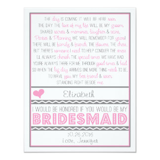 Will you be my Bridesmaid? Pink/Gray Poem Card