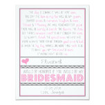 Will you be my Bridesmaid? Pink/Gray Poem Card Custom Announcements at Zazzle