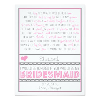 Will you be my Bridesmaid? Pink/Gray Poem Card V2 11 Cm X 14 Cm Invitation Card
