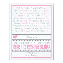 Will you be my Bridesmaid? Pink/Grey Poem Card V2 11 Cm X 14 Cm Invitation Card