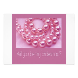 Will you be my bridesmaid - pink pearls border personalized announcements