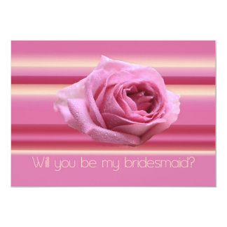 Will you be my bridesmaid pink stripes invites