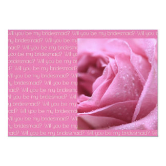 Will you be my bridesmaid pink taupe rose custom invite