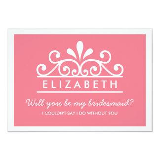 Will You Be My Bridesmaid? Pink Tiara Card