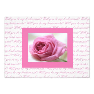 Will you be my bridesmaid pink white personalized invitation