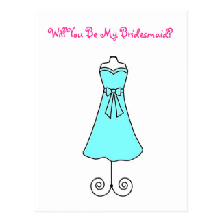 Will You Be My Bridesmaid Postcard-Dress Postcard