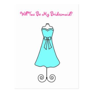 Will You Be My Bridesmaid Postcard-Dress Postcard