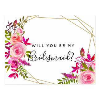 Will you be my bridesmaid postcard roses