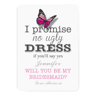 Will You Be My Bridesmaid Pretty Butterfly Card 13 Cm X 18 Cm Invitation Card