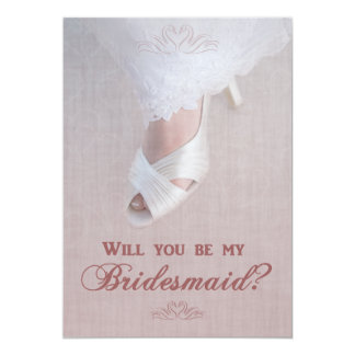 Will You Be My Bridesmaid? Pretty in Pink! 13 Cm X 18 Cm Invitation Card