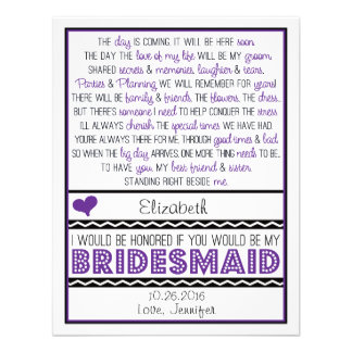 Will you be my Bridesmaid Purple Black Poem Card