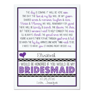 Will you be my Bridesmaid? Purple/Black Poem V2 11 Cm X 14 Cm Invitation Card