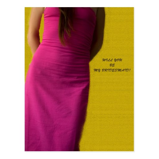 Will you be my Bridesmaid? - Purple Dress Postcard