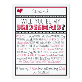 Will you be my Bridesmaid? Red/Black Collage Card 11 Cm X 14 Cm Invitation Card