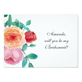 """Will you be my bridesmaid"" rose garden invitation"