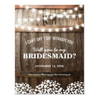 Will you be my Bridesmaid | Rustic Country Chic Card