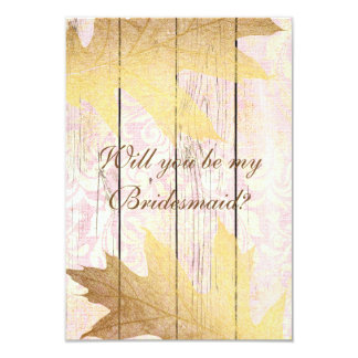 Will You Be My Bridesmaid? Rustic Golden Pink Card