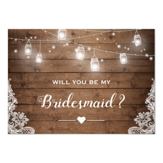 Will You Be My Bridesmaid Rustic Mason Jar Lights Card