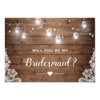 Will You Be My Bridesmaid Rustic Mason Jar Lights Card