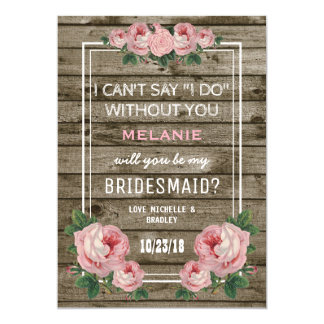 Will you be my Bridesmaid | Rustic Vintage 13 Cm X 18 Cm Invitation Card