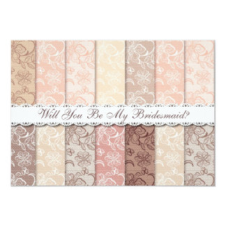 Will You Be My Bridesmaid? Rustic Vintage Lace 13 Cm X 18 Cm Invitation Card